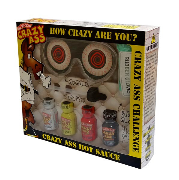 Ass Kickin  Crazy Ass Hot Sauce Challenge Kit, by Southwest Specialty Food Inc,  and more Snack Foods at The Professors Online Lolly Shop. (Image Number :10296)