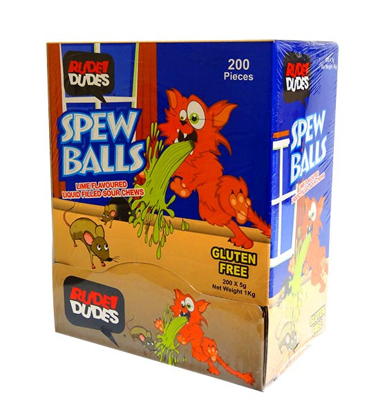 Rude Dudes - Spew Balls - Liquid Filled Sour Chews, by AIT Confectionery,  and more Confectionery at The Professors Online Lolly Shop. (Image Number :10411)