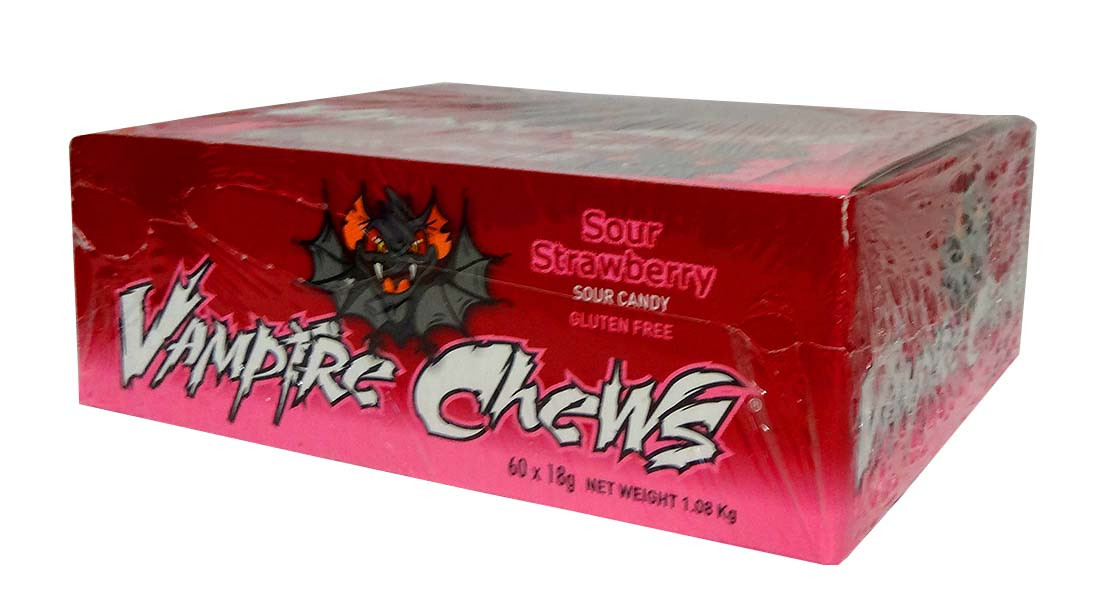 Vampire Chews - Sour Strawberry, by AIT Confectionery,  and more Confectionery at The Professors Online Lolly Shop. (Image Number :10461)