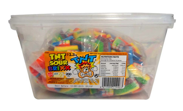 TNT Sour Brixx - Rainbow, by TNT,  and more Confectionery at The Professors Online Lolly Shop. (Image Number :10454)