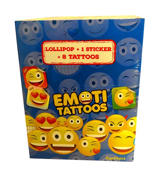 Emoti Tattoos Packs - 1 Lollipop + 1 sticker + 8 tattoos and more Confectionery at The Professors Online Lolly Shop. (Image Number :10661)