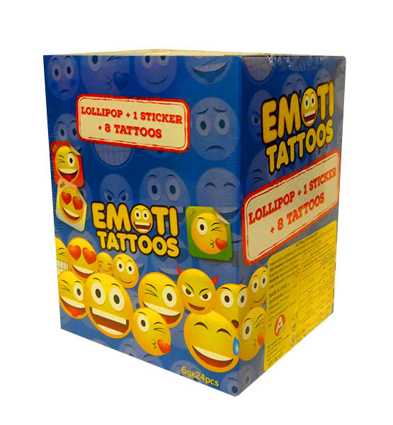 Emoti Tattoos Packs - 1 Lollipop + 1 sticker + 8 tattoos and more Confectionery at The Professors Online Lolly Shop. (Image Number :10662)