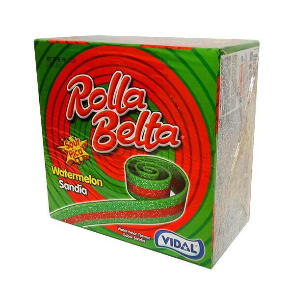 Vidal Rolla Belts - Watermelon, by vidal,  and more Confectionery at The Professors Online Lolly Shop. (Image Number :10680)