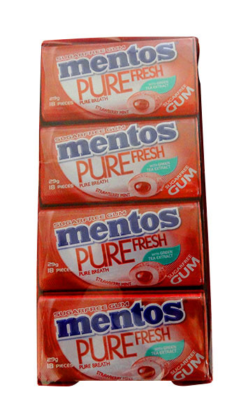 Mentos Sugar Free Gum - Pure Fresh - Strawberry Mint, by Perfetti Van Melle,  and more Confectionery at The Professors Online Lolly Shop. (Image Number :10565)