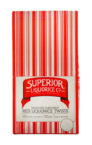 Superior Red Long Liquorice Twists, by Fyna Foods,  and more Confectionery at The Professors Online Lolly Shop. (Image Number :10731)