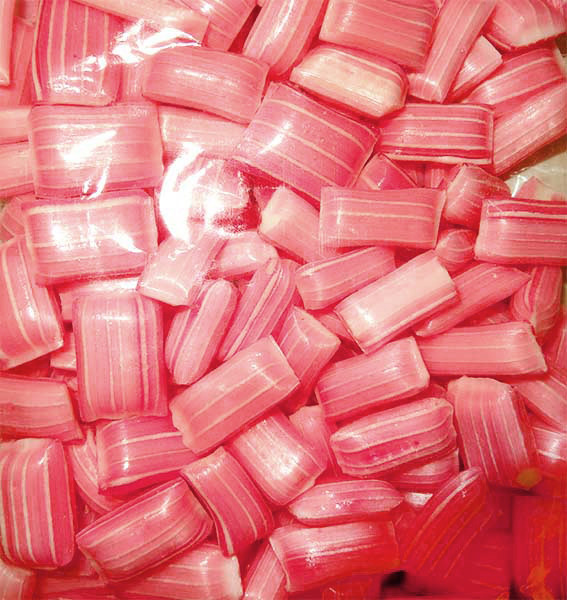 Rock Candy Pillows - Large - Pin Striped - Pink with a Strawberry and Cream Flavour, by Designer Candy,  and more Confectionery at The Professors Online Lolly Shop. (Image Number :10608)