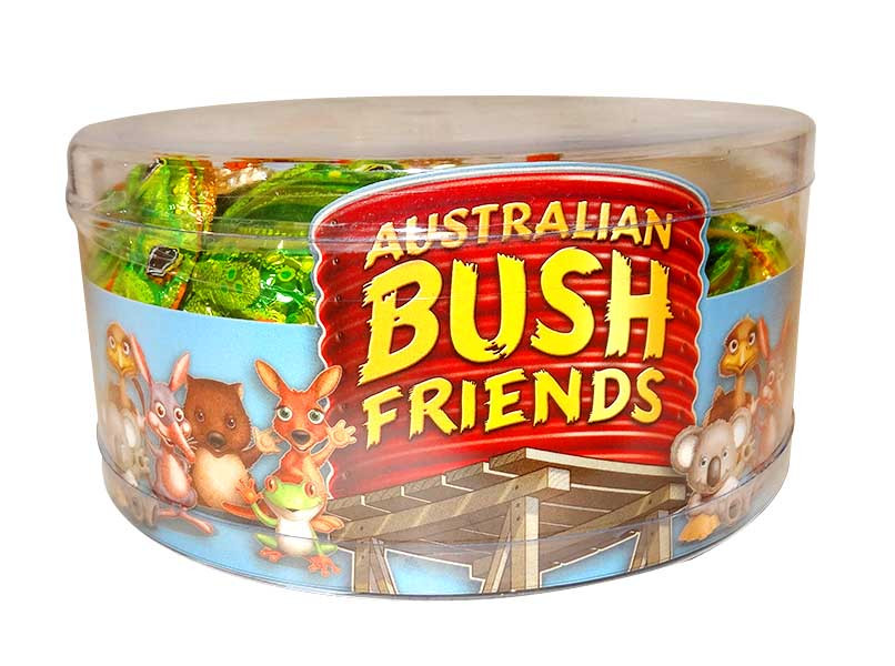 Australian Bush Friends Milk Chocolate - Mixed Tub, by Fyna Foods,  and more Confectionery at The Professors Online Lolly Shop. (Image Number :10615)