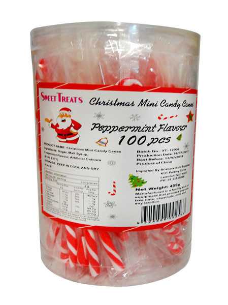BBS - Christmas Mini Candy Cane Jar, by Brisbane Bulk Supplies,  and more Confectionery at The Professors Online Lolly Shop. (Image Number :10700)