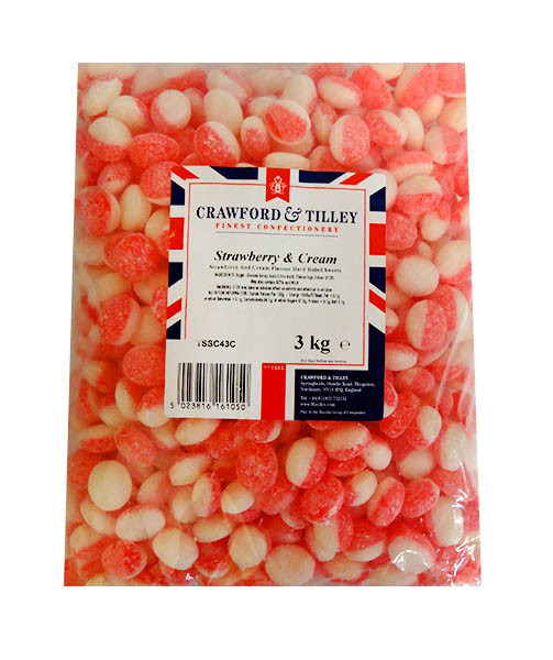 Tilleys Strawberries & Cream, by Tilleys,  and more Confectionery at The Professors Online Lolly Shop. (Image Number :10818)
