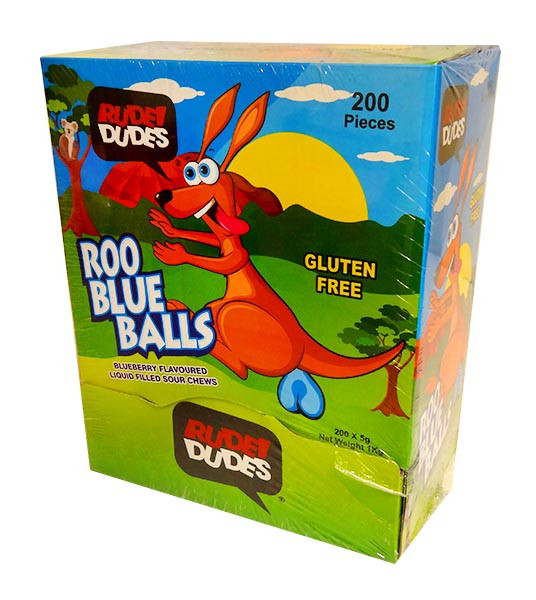 Rude Dudes - Roo Blue Balls - Liquid Filled Sour Chews and more Confectionery at The Professors Online Lolly Shop. (Image Number :10816)
