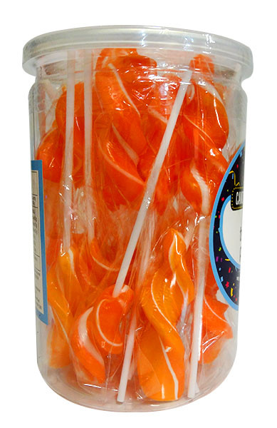 Candy Showcase Twirly Pops - Orange, by Lolliland,  and more Confectionery at The Professors Online Lolly Shop. (Image Number :10805)