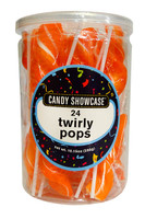 Candy Showcase Twirly Pops - Orange (24 x 12g pops in a tub)