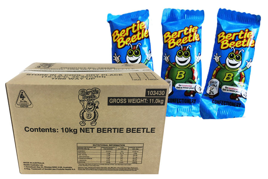 Bertie Beetle Bulk Carton and more Confectionery at The Professors Online Lolly Shop. (Image Number :10841)