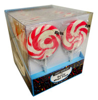 Candy showcase Mega Swirl lollipops  - Pink and more Confectionery at The Professors Online Lolly Shop. (Image Number :11321)