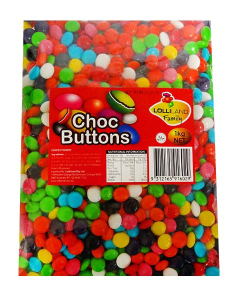 Lolliland Choc Buttons - Mixed and more Confectionery at The Professors Online Lolly Shop. (Image Number :11335)