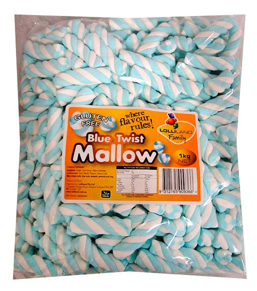 Lolliland Marshmallow Twists - Blue and White, by Lolliland,  and more Confectionery at The Professors Online Lolly Shop. (Image Number :13230)