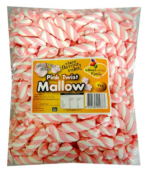 Lolliland Marshmallow Twists - Pink and White, by Lolliland,  and more Confectionery at The Professors Online Lolly Shop. (Image Number :13232)