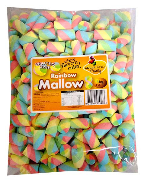Lolliland Marshmallow Twists - Rainbow, by Lolliland,  and more Confectionery at The Professors Online Lolly Shop. (Image Number :13234)