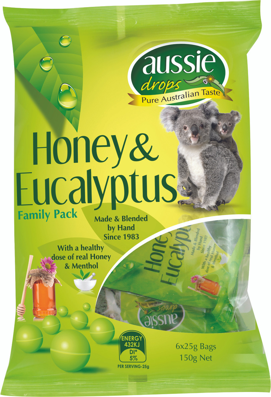 Aussie Drops - Honey and Eucalyptus Sharepack 6 x 25g bags and more Confectionery at The Professors Online Lolly Shop. (Image Number :10971)