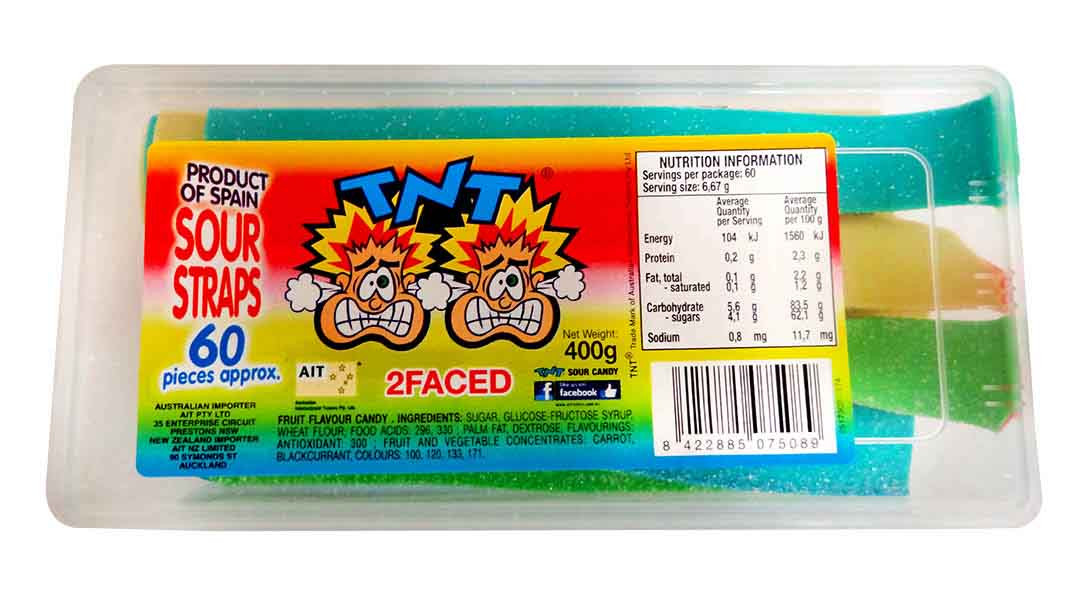 TNT 2 Faced Sour Straps Snack Pack, by TNT,  and more Confectionery at The Professors Online Lolly Shop. (Image Number :11268)