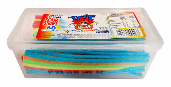 TNT Sour Straps Snack Pack - Multi-Coloured, by TNT,  and more Confectionery at The Professors Online Lolly Shop. (Image Number :11270)