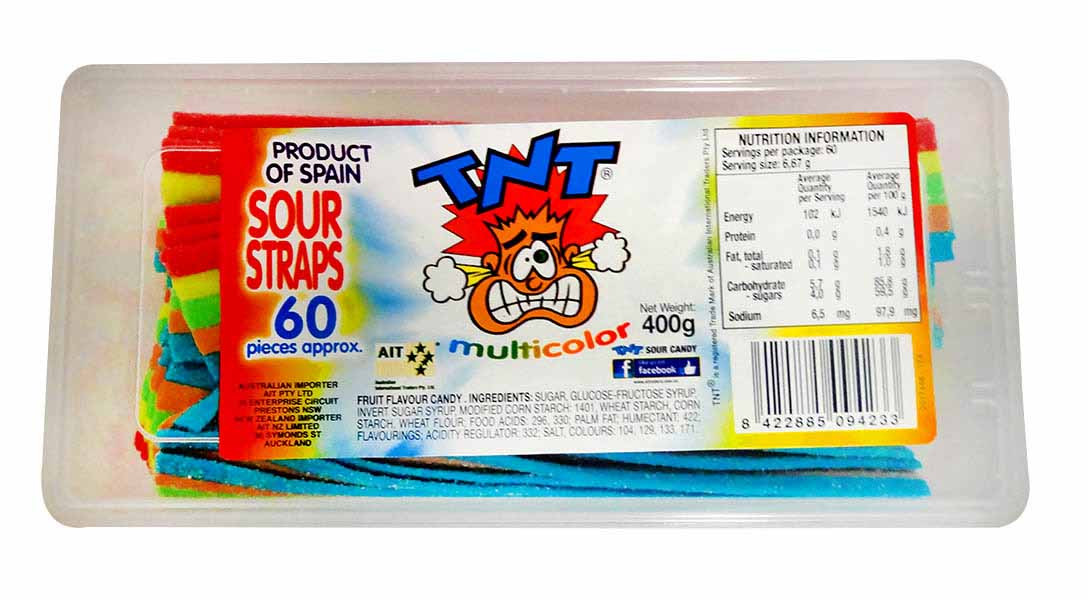 TNT Sour Straps Snack Pack - Multi-Coloured, by TNT,  and more Confectionery at The Professors Online Lolly Shop. (Image Number :11271)