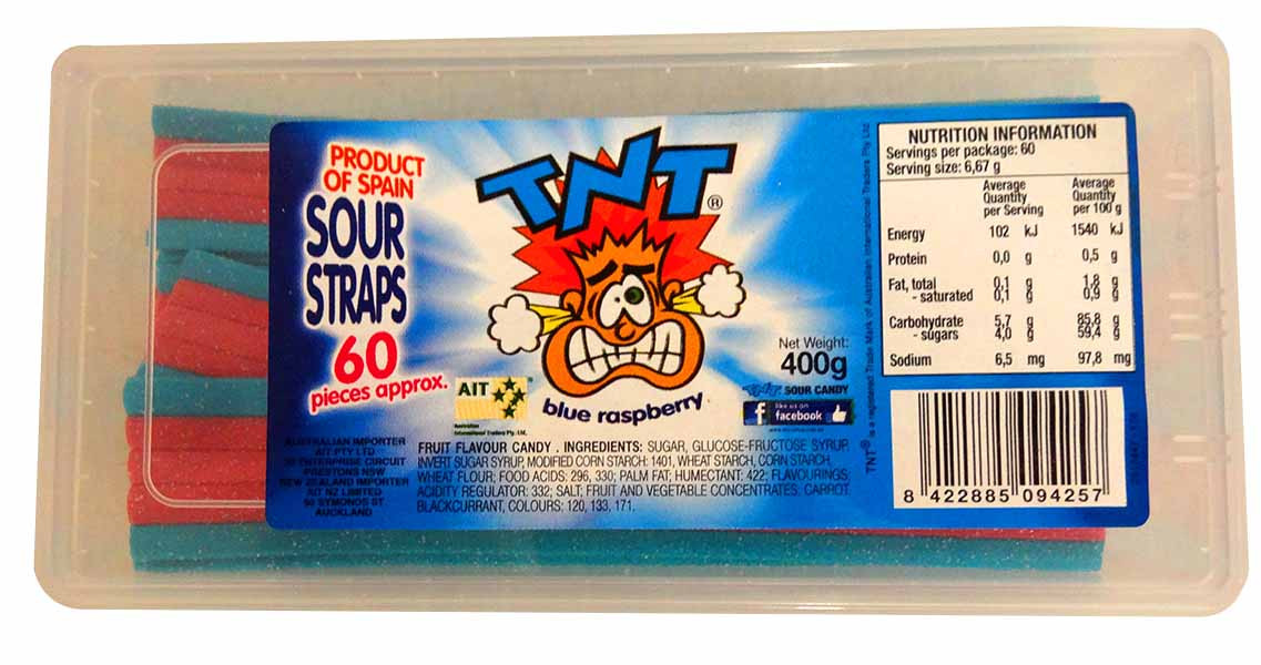 TNT Sour Straps Snack Pack - Blue Raspberry, by TNT,  and more Confectionery at The Professors Online Lolly Shop. (Image Number :13733)