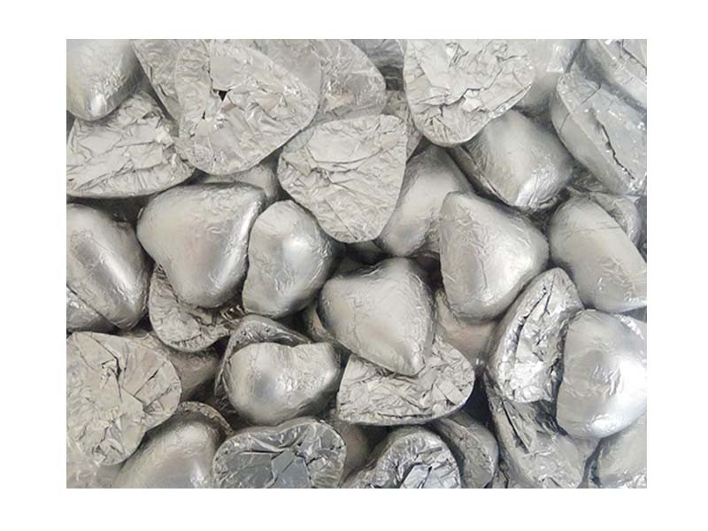 Belgian Milk Chocolate Hearts - Matt Silver and more Confectionery at The Professors Online Lolly Shop. (Image Number :12350)