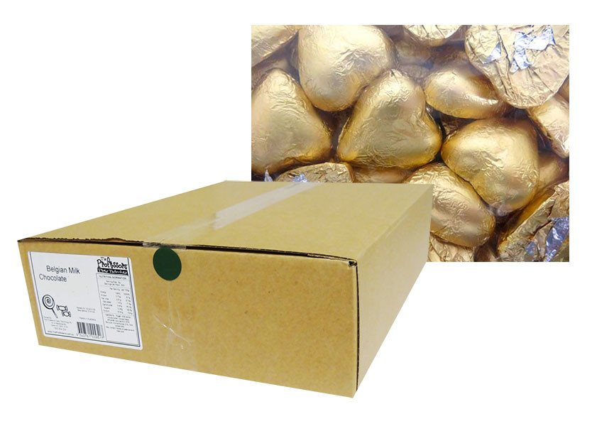 Belgian Milk Chocolate Hearts - Matt Gold and more Confectionery at The Professors Online Lolly Shop. (Image Number :12348)
