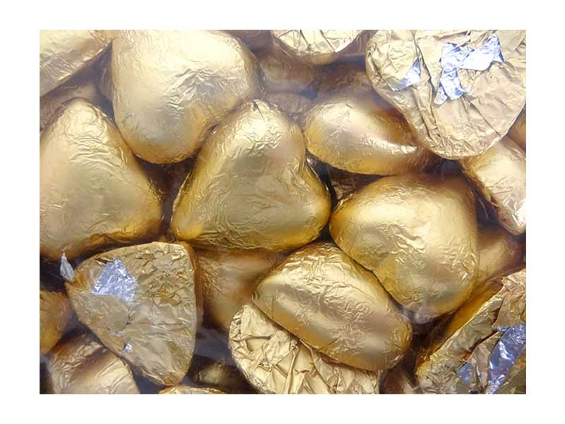 Belgian Milk Chocolate Hearts - Matt Gold and more Confectionery at The Professors Online Lolly Shop. (Image Number :12349)