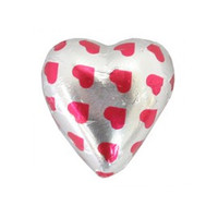 Belgian Milk Chocolate Hearts - Hot Pink Hearts on Silver and more Confectionery at The Professors Online Lolly Shop. (Image Number :11056)