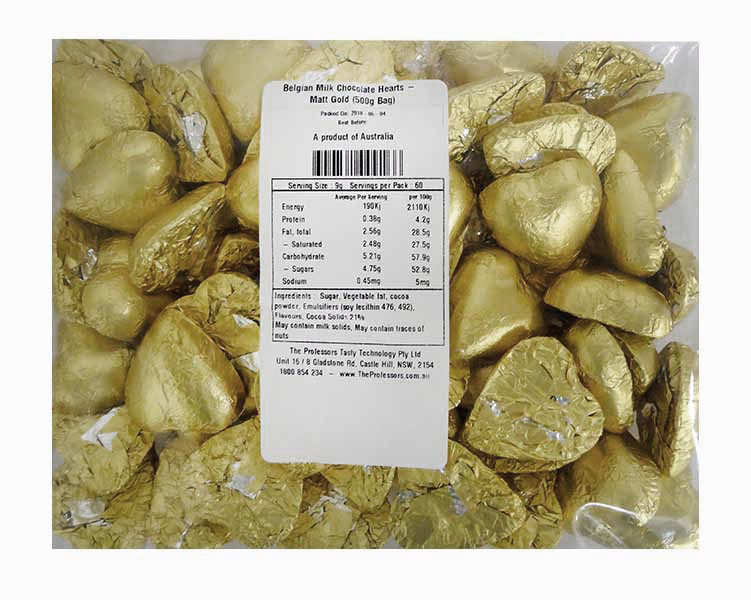 Belgian Milk Chocolate Hearts - Matt Gold and more Confectionery at The Professors Online Lolly Shop. (Image Number :11488)