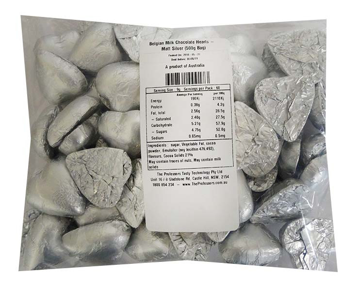 Belgian Milk Chocolate Hearts - Matt Silver and more Confectionery at The Professors Online Lolly Shop. (Image Number :11490)