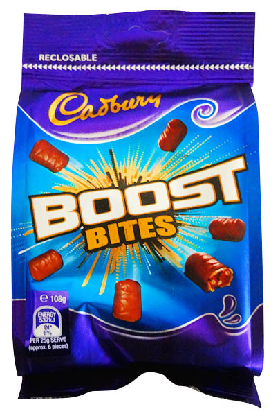 Cadbury Boost Bites Sharepack, by Cadbury,  and more Confectionery at The Professors Online Lolly Shop. (Image Number :11738)