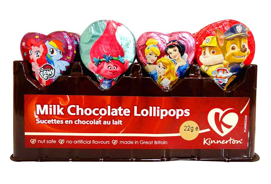 Kinnerton Milk Chocolate lollipops - assorted, by Kinnerton,  and more Confectionery at The Professors Online Lolly Shop. (Image Number :11768)