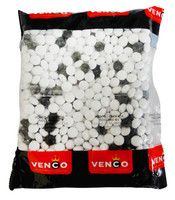 Venco Dutch Licorice -  Zwart Witjes  (Black& White) (1kg bag)