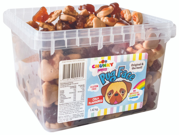 Chunky Funkeez Pug Face, by Candy Brokers,  and more Confectionery at The Professors Online Lolly Shop. (Image Number :11157)