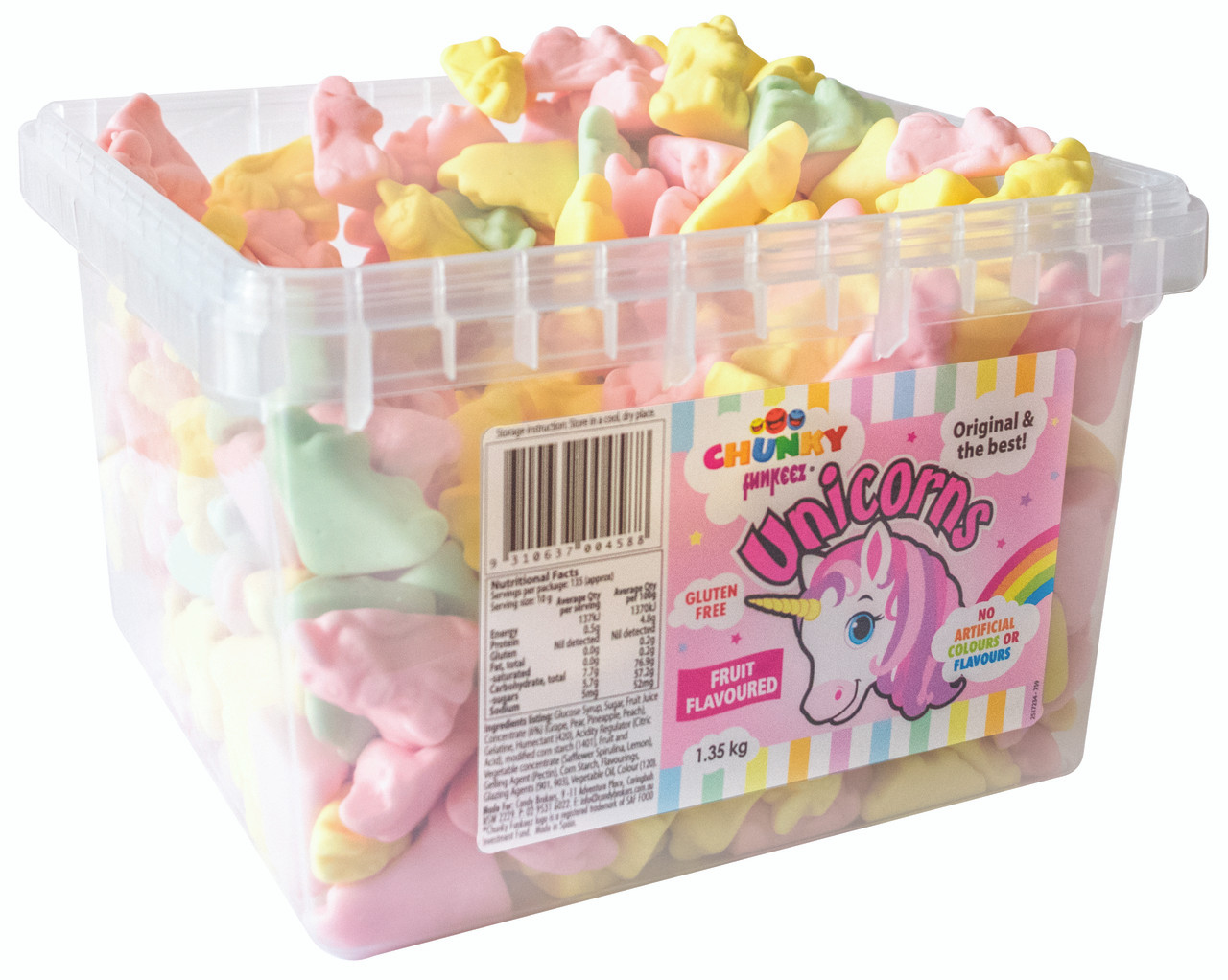 Chunky Funkeez Unicorns, by Candy Brokers,  and more Confectionery at The Professors Online Lolly Shop. (Image Number :11161)