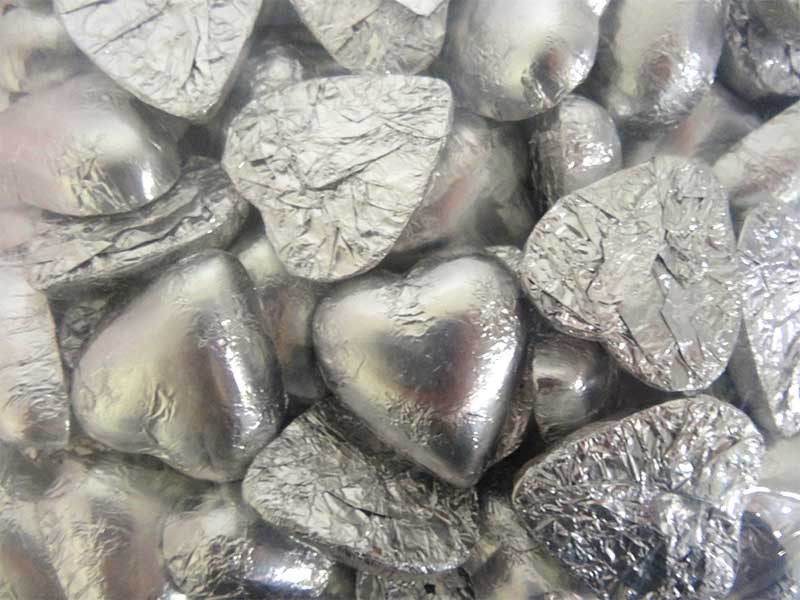 Belgian Milk Chocolate Hearts - Silver and more Confectionery at The Professors Online Lolly Shop. (Image Number :12338)