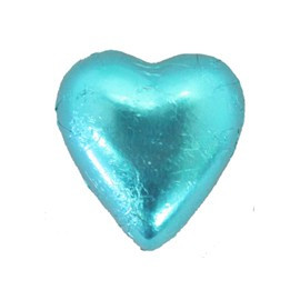 Belgian Milk Chocolate Hearts - Aqua and more Confectionery at The Professors Online Lolly Shop. (Image Number :11192)