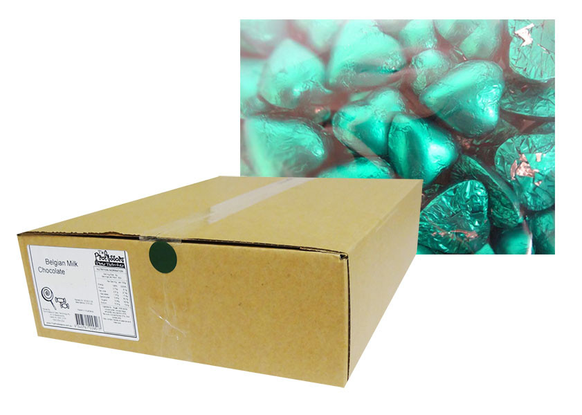 Belgian Milk Chocolate Hearts - Teal and more Confectionery at The Professors Online Lolly Shop. (Image Number :12322)