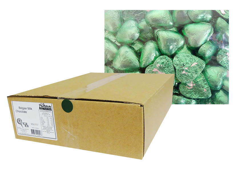 Belgian Milk Chocolate Hearts - Light Green and more Confectionery at The Professors Online Lolly Shop. (Image Number :12319)