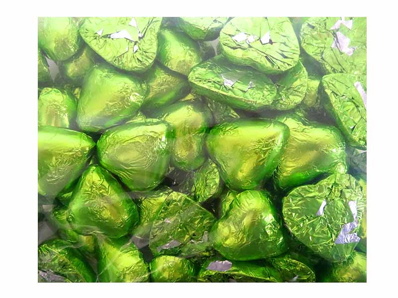 Belgian Milk Chocolate Hearts - Lime and more Confectionery at The Professors Online Lolly Shop. (Image Number :12317)