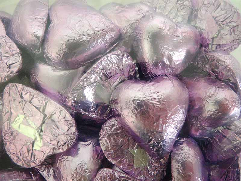 Belgian Milk Chocolate Hearts - Lilac and more Confectionery at The Professors Online Lolly Shop. (Image Number :12312)