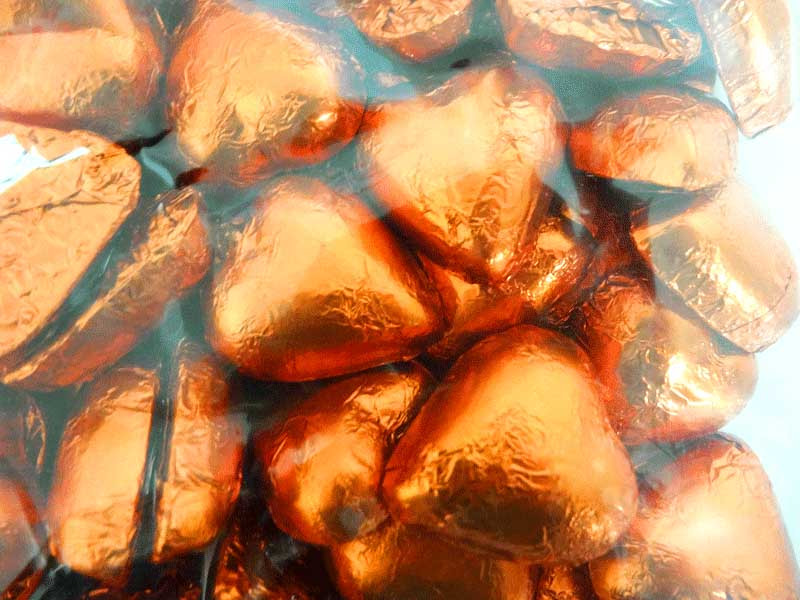 Belgian Milk Chocolate Hearts - Orange and more Confectionery at The Professors Online Lolly Shop. (Image Number :12308)