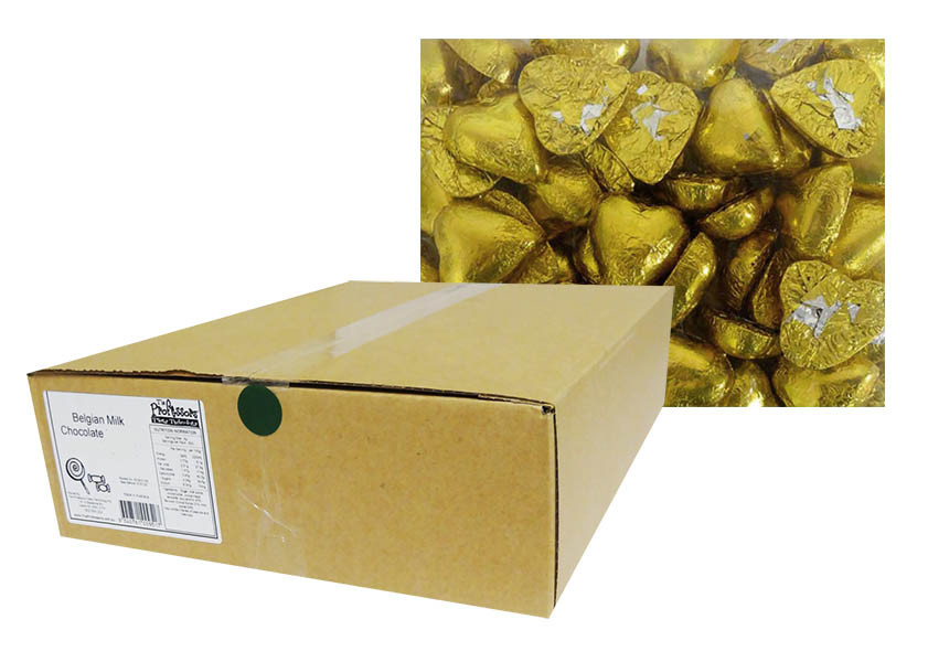 Belgian Milk Chocolate Hearts - Gold and more Confectionery at The Professors Online Lolly Shop. (Image Number :12306)