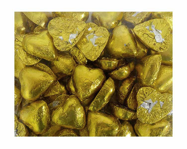 Belgian Milk Chocolate Hearts - Gold and more Confectionery at The Professors Online Lolly Shop. (Image Number :11479)