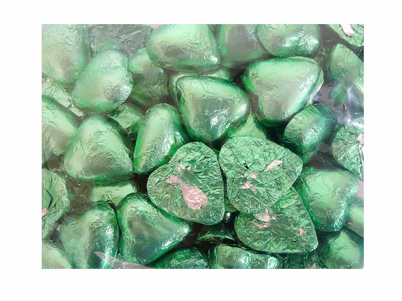Belgian Milk Chocolate Hearts - Light Green and more Confectionery at The Professors Online Lolly Shop. (Image Number :11483)