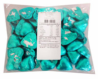 Belgian Milk Chocolate Hearts - Aqua and more Confectionery at The Professors Online Lolly Shop. (Image Number :11468)