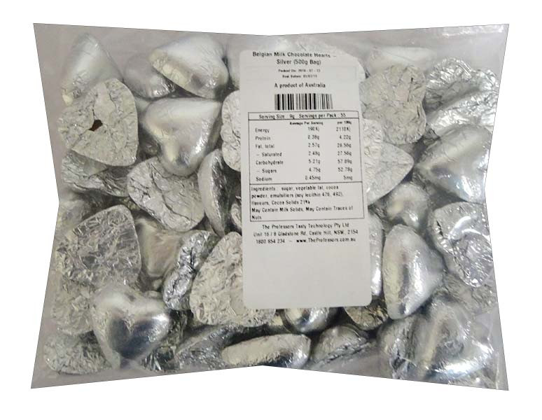 Belgian Milk Chocolate Hearts - Silver and more Confectionery at The Professors Online Lolly Shop. (Image Number :11702)